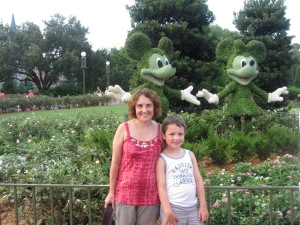 Nate & I pose briefly with over-sided mouse shrubbery.