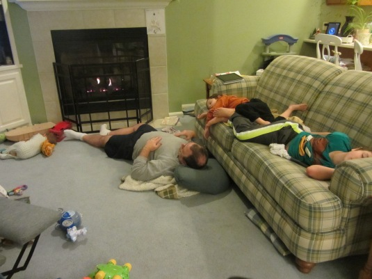 All snow & no play makes my boys & girl pass out. And I didn't even half to drug them!